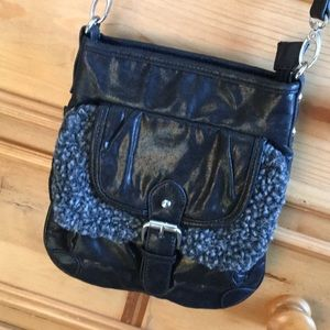 Steve Madden Black Sherpa Crossbody Purse Bag